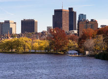 Boston Citiscape from Massachussets bridge Royalty Free Stock Photography