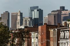 Boston city apartment buildings in front of skyline in Massachusetts USA. Boston city apartment buildings in front of the skyline in Massachusetts USA royalty free stock photo