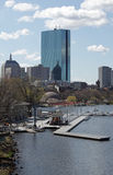 Boston city and Charles river. Scenic view of Boston city skyline on Charles river with Hatch Sheel and boat house in foreground, Massachusetts, U.S.A Royalty Free Stock Photos