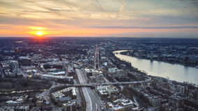 Boston City and Charles River at Night and Charles River Sunset. Boston City and Charles River Sunset, MA Stock Image