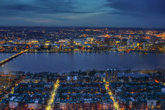 Boston City and Charles River at Night. Boston Skyline and Charles River at Night, MA Stock Images