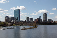 Boston city skyline. Scenic view of  Boston city skyline with Charles river, boat house, Hatch Shell bandstand and Esplanade in foreground, Massachusetts, U.S.A Royalty Free Stock Photo