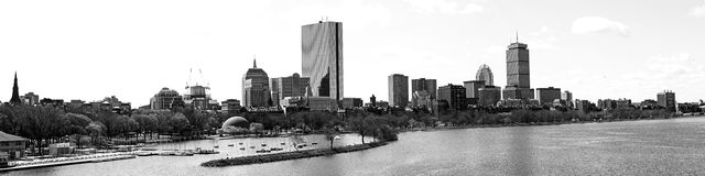 Boston city skyline. Panoramic black and white view of Boston city skyline with Charles river in foreground, Massachusetts, U.S.A Royalty Free Stock Photos