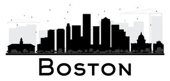 Boston City skyline black and white silhouette. Royalty Free Stock Photography