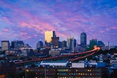Boston city skyline with bridges and highways at dusk. Boston Massachusetts USA stock photography