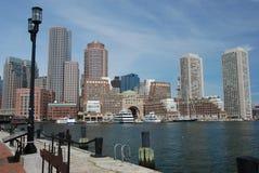 Boston city skyline. Daytime Boston city skyline from the harbor Royalty Free Stock Photos