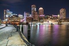 Boston City Skyline at Night Stock Photo