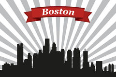 Boston city skyline with rays background and ribbon Royalty Free Stock Images