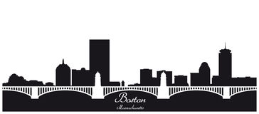 Boston city skyline silhouette vector illustration