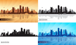 Boston city skyline silhouettes set Royalty Free Stock Photo