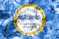 Boston city smoke flag, Massachusetts State, United States Of Am. Erica Royalty Free Stock Photo