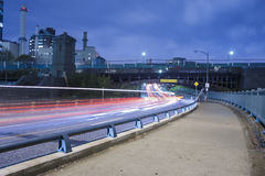 Boston city streets at night. Car trafic light trails Stock Images