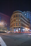 Boston city streets at night. Car trafic light trails Royalty Free Stock Photography