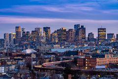 Boston Cityscape. With highway trail to Boston MA USA at night royalty free stock photo