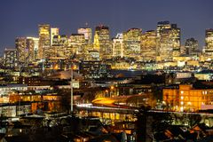 Boston Cityscape. With highway trail to Boston MA USA at night stock image