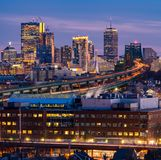 Boston Cityscape. With highway trail to Boston MA USA at night stock images
