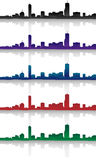 Boston Skyline Silhouette Set. Multiple silhouettes of Boston, Mass in different colors royalty free illustration