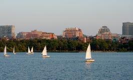 Boston Cityscape and Sailors Stock Photos