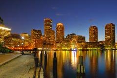 boston cityscapehamn royaltyfri foto