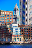 Boston Clock tower Custom House from Harbor Stock Photography
