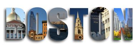 Boston collage på vit arkivbilder