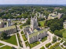 Boston College, Newton, Massachusetts, USA. Boston College Gasson Hall aerial view, Newton, Massachusetts, USA royalty free stock images