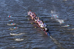 Boston College HS Crew races in the Head of Charles Regatta Men`s Youth Eight. BOSTON - OCTOBER 23, 2016: Boston College HS Crew races in the Head of Charles Stock Photos
