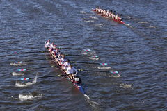 Boston College HS left Fordham Prep right Crew races in the Head of Charles Regatta Men`s Youth Eight Stock Photos