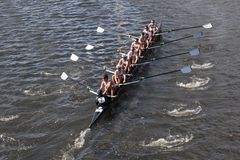 Boston College races in the Head of Charles Regatt Royalty Free Stock Photos