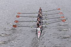 Boston College Women's Crew races in the Head of Charles Regatta Women's Master Eights Stock Image
