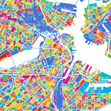 Boston Colorful Vector Map. Printable outline Version, ready for color change, Separated On White Stock Photos