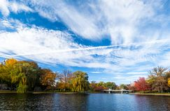 Boston Common in fall. Boston Common is a central public park in downtown Boston, Massachusetts. It is sometimes erroneously referred to as the Boston Commons Stock Image