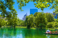 Boston Common lake and skyline in Massachusetts. USA Royalty Free Stock Image