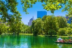 Boston Common lake and skyline in Massachusetts Royalty Free Stock Image
