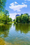 Boston Common lake and skyline in Massachusetts Royalty Free Stock Images