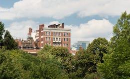 Boston Common Park. Gardens with Boston Skyline,USA Stock Image