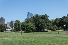 Boston Common Park. Gardens with Boston Skyline,USA Royalty Free Stock Photography