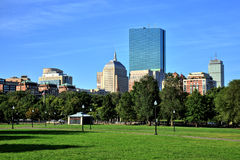 Boston Common Park Gardens with Boston Skyline Stock Image