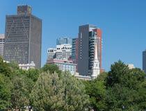 Boston Common Park. Gardens with Boston Skyline,USA Stock Photography