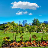 Boston Common park gardens and skyline Royalty Free Stock Photo