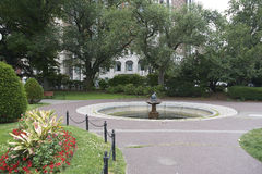 Boston Common's bird bath. A view of trees and bird bath in Boston Common's park Royalty Free Stock Photo
