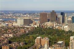 Boston Common and Skyline Stock Image