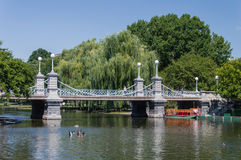 Boston Commons Bridge. Bridge over pond in Boston Commons royalty free stock photography