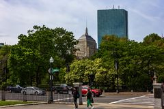 Boston Public Gardens with view of the Prudential Center and th royalty free stock images