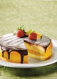 Boston cream cake. With toping strawberry Royalty Free Stock Images