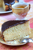 Boston Cream Pie And Green Tea Royalty Free Stock Image