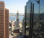 Boston, Custom House. A shot of Downtown Boston featuring the Custom House (center), 60 State St. (left) and Exchange Place (right royalty free stock photography