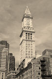 Boston Custom House black and white Royalty Free Stock Image