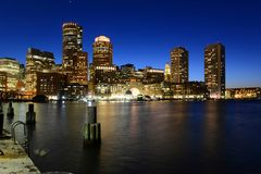 Boston Custom House at night, USA Stock Photos
