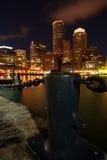 Boston dat bij Nacht wordt verlicht van Royalty-vrije Stock Afbeelding